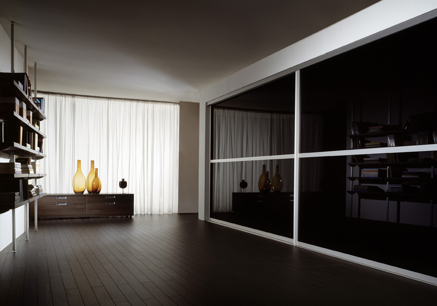 Sleek Polished Glass Fronted Sliding Wardrobe Doors