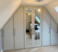Large 6 door 2 mirrored sloping fitted wardrobe
