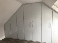 Extra large 8 door sloping fitted wardrobe