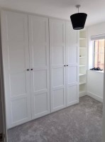 large 4 door wardrobe with side shelves