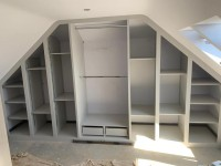 Extra large sloping fitted wardrobe with cube shelves