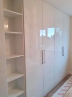 large 4 door fitted wardrobe with cube shelves